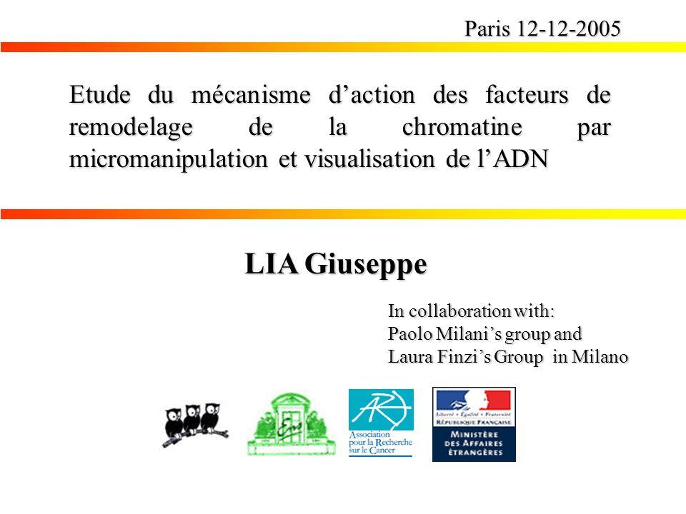 Etude du mécanisme daction des facteurs de remodelage de la chromatine par micromanipulation et visualisation de lADN Paris 12-12-2005 LIA Giuseppe In