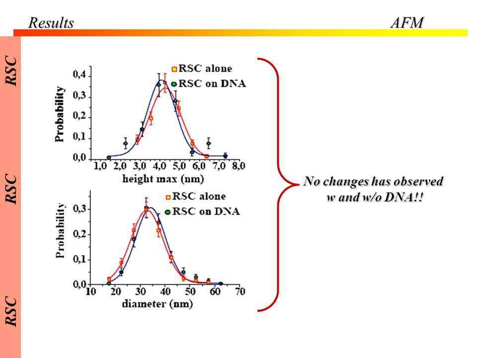 No changes has observed w and w/o DNA!! w and w/o DNA!! ResultsAFM RSC