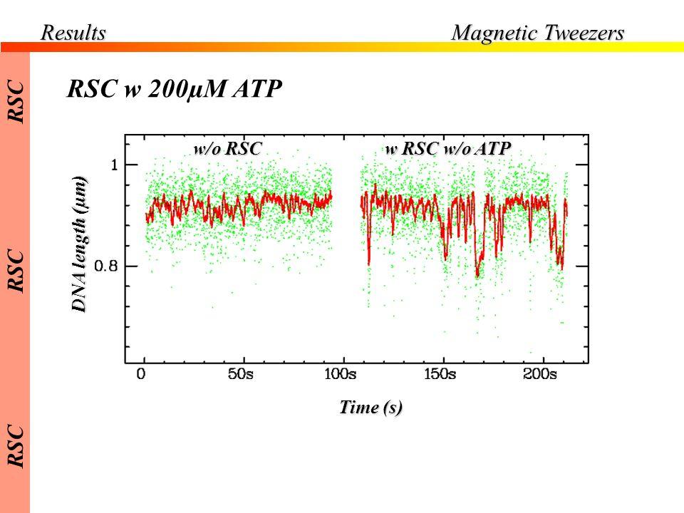 Results Magnetic Tweezers DNA length (µm) Time (s) w/o RSC w RSC w/o ATP RSC w 200µM ATP RSC