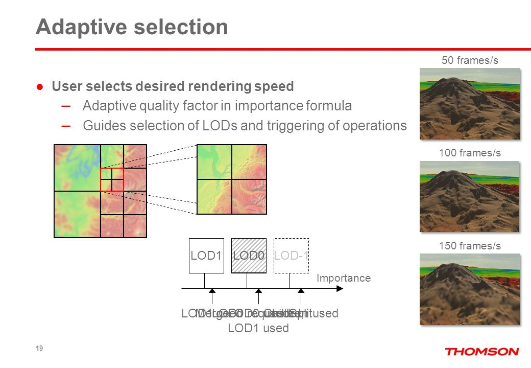 LOD0 19 User selects desired rendering speed – Adaptive quality factor in importance formula – Guides selection of LODs and triggering of operations A
