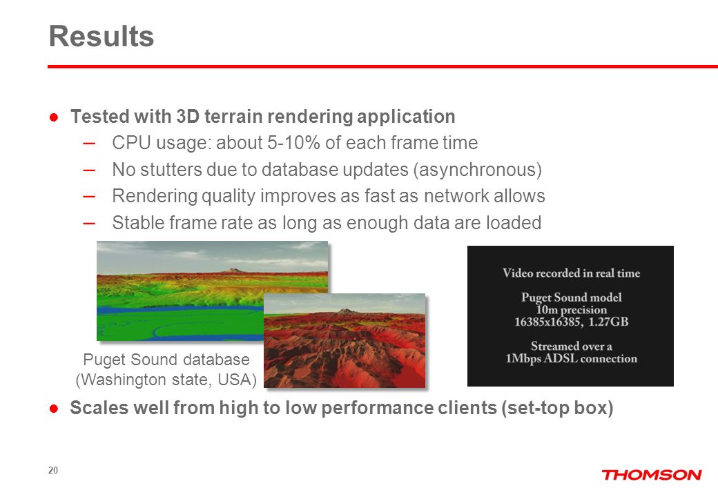 Results Tested with 3D terrain rendering application – CPU usage: about 5-10% of each frame time – No stutters due to database updates (asynchronous)