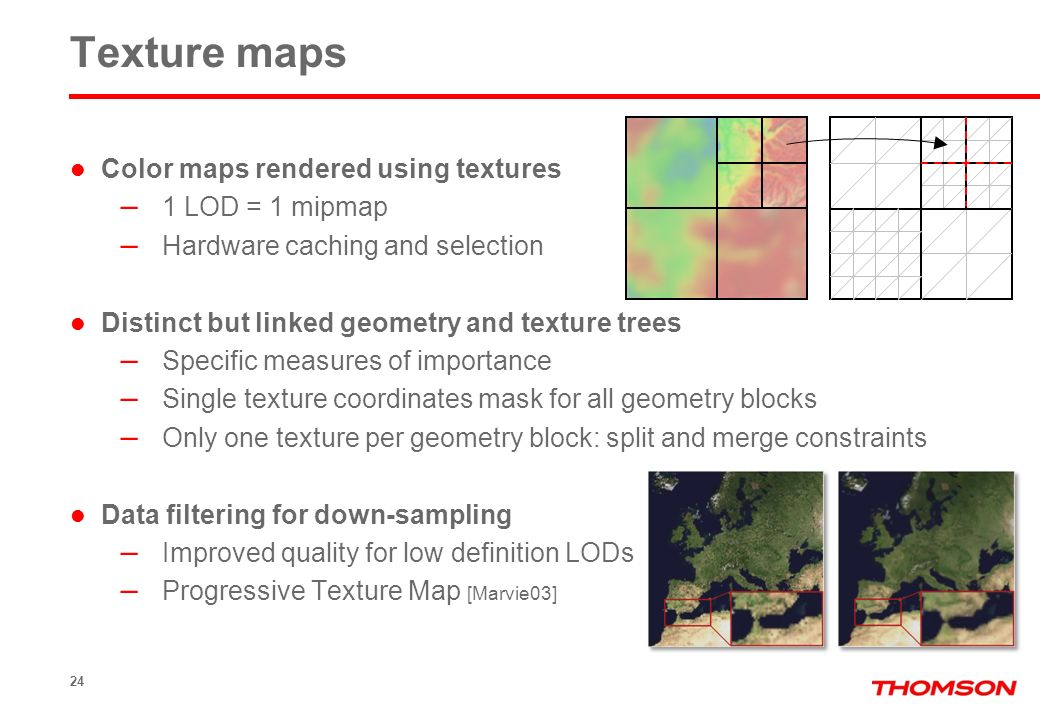 24 Texture maps Color maps rendered using textures – 1 LOD = 1 mipmap – Hardware caching and selection Distinct but linked geometry and texture trees