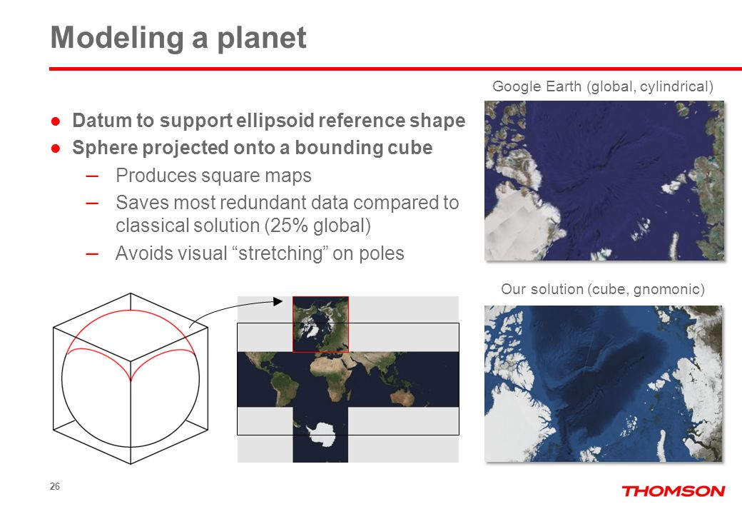 Modeling a planet Datum to support ellipsoid reference shape Sphere projected onto a bounding cube – Produces square maps – Saves most redundant data compared to classical solution (25% global) – Avoids visual stretching on poles 26 Google Earth (global, cylindrical) Our solution (cube, gnomonic)