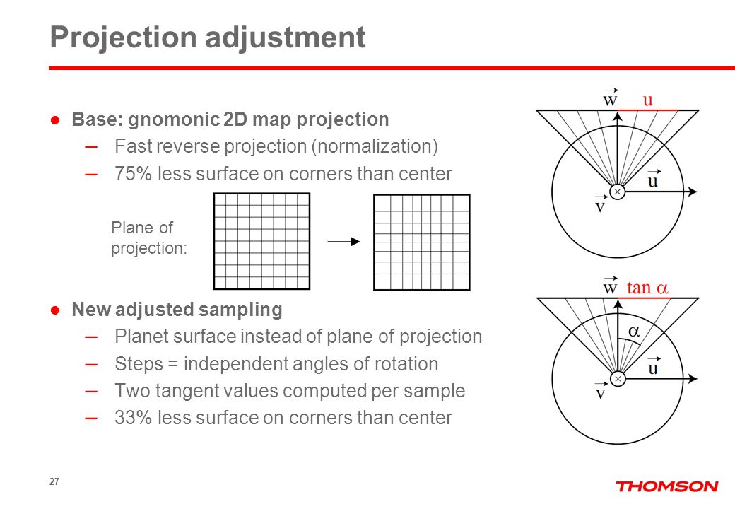 27 Projection adjustment Base: gnomonic 2D map projection – Fast reverse projection (normalization) – 75% less surface on corners than center New adjusted sampling – Planet surface instead of plane of projection – Steps = independent angles of rotation – Two tangent values computed per sample – 33% less surface on corners than center Plane of projection: