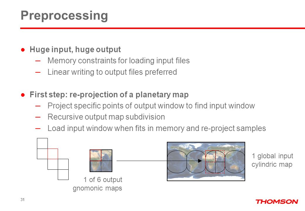 Huge input, huge output – Memory constraints for loading input files – Linear writing to output files preferred First step: re-projection of a planeta
