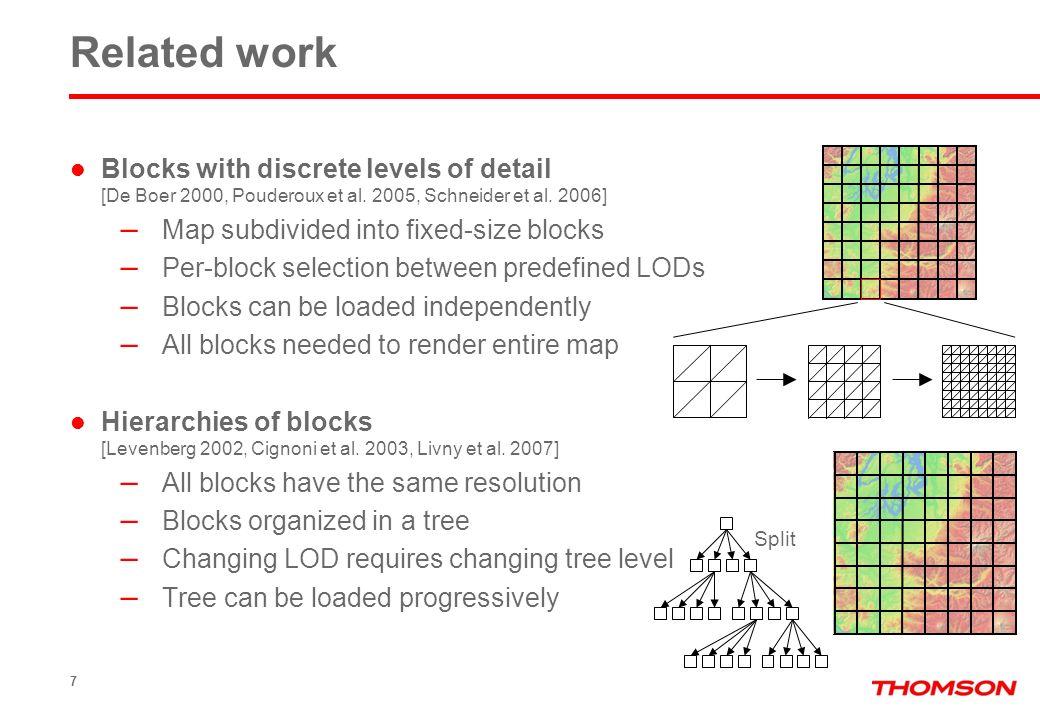 Blocks with discrete levels of detail [De Boer 2000, Pouderoux et al. 2005, Schneider et al. 2006] – Map subdivided into fixed-size blocks – Per-block