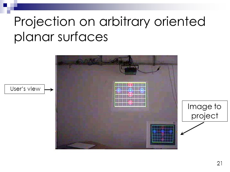 21 Projection on arbitrary oriented planar surfaces Image to project Users view