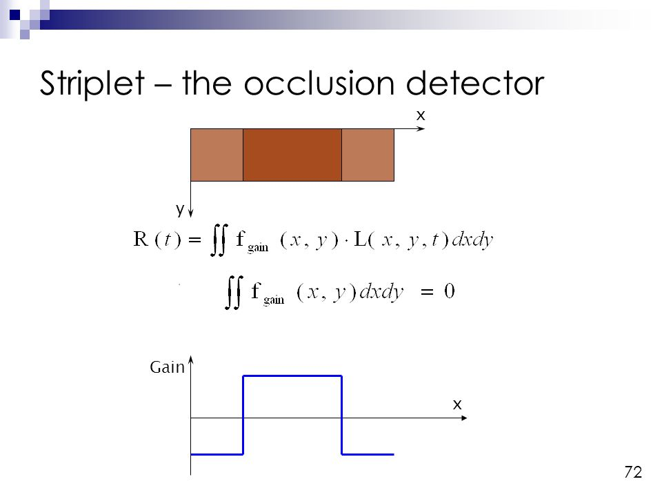 72 Striplet – the occlusion detector Gain x x y