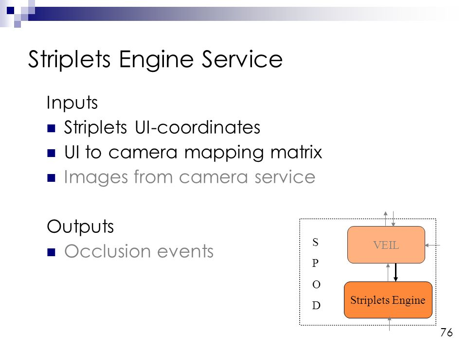 76 Inputs Striplets UI-coordinates UI to camera mapping matrix Images from camera service Outputs Occlusion events Striplets Engine Service Striplets Engine VEIL SPODSPOD