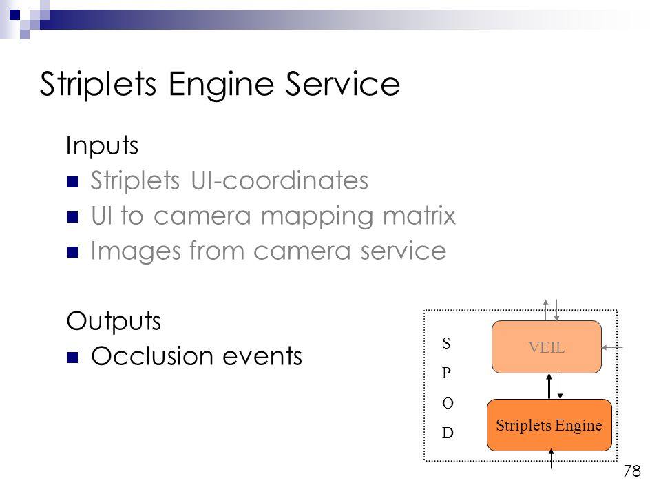 78 Inputs Striplets UI-coordinates UI to camera mapping matrix Images from camera service Outputs Occlusion events Striplets Engine Service Striplets Engine VEIL SPODSPOD