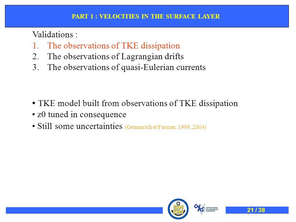 Validations : 1.The observations of TKE dissipation 2.The observations of Lagrangian drifts 3.The observations of quasi-Eulerian currents TKE model bu
