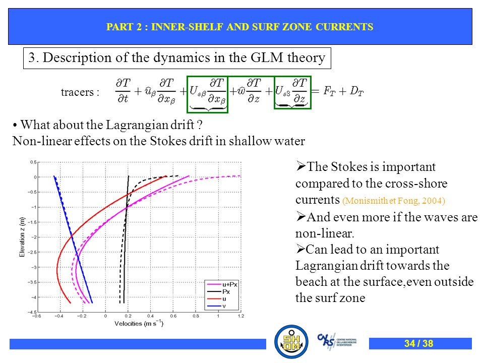 tracers : What about the Lagrangian drift ? Non-linear effects on the Stokes drift in shallow water The Stokes is important compared to the cross-shor