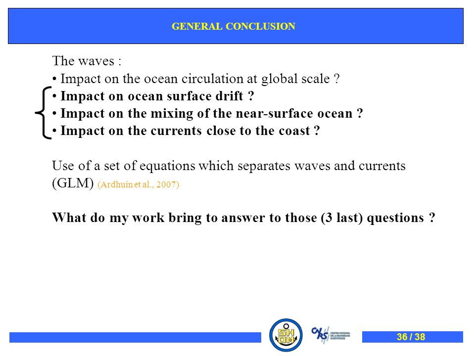 GENERAL CONCLUSION The waves : Impact on the ocean circulation at global scale ? Impact on ocean surface drift ? Impact on the mixing of the near-surf