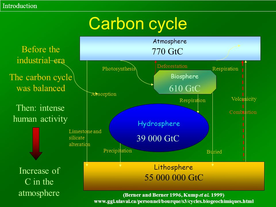 Carbon cycle Introduction Deforestation Combustion Before the industrial era The carbon cycle was balanced Then: intense human activity Increase of C
