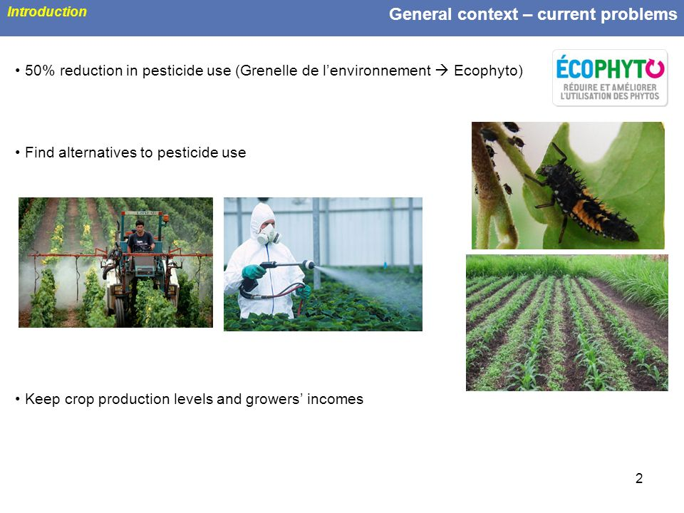 2 General context – current problems Introduction 50% reduction in pesticide use (Grenelle de lenvironnement Ecophyto) Find alternatives to pesticide