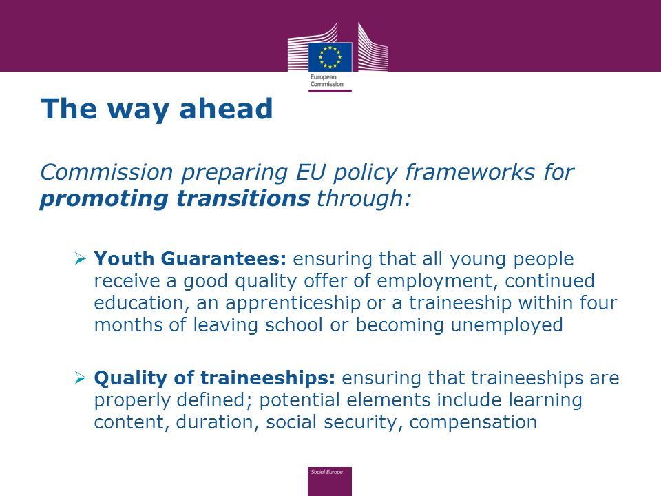 The way ahead Commission preparing EU policy frameworks for promoting transitions through: Youth Guarantees: ensuring that all young people receive a