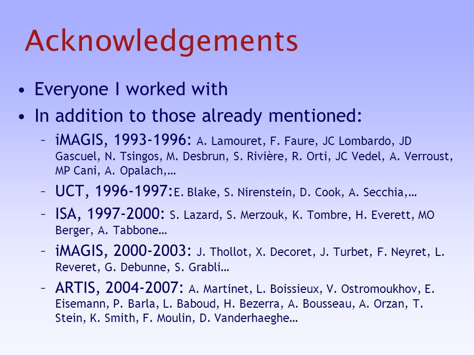 Acknowledgements Everyone I worked with In addition to those already mentioned: –iMAGIS, 1993-1996: A.