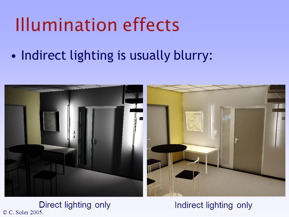 Illumination effects Indirect lighting is usually blurry: Indirect lighting only Direct lighting only © C.