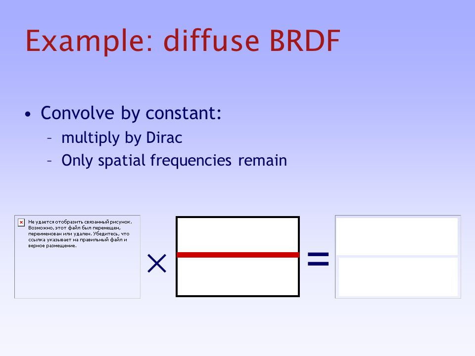 Example: diffuse BRDF Convolve by constant: –multiply by Dirac –Only spatial frequencies remain =