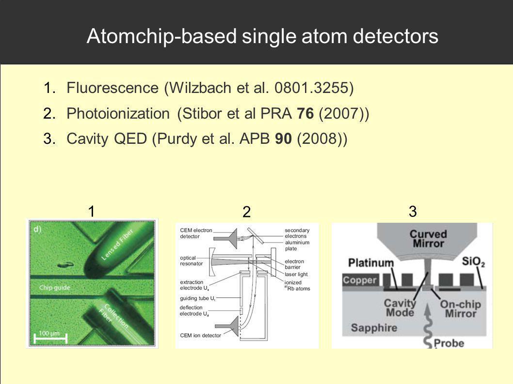 Atomchip-based single atom detectors Fluorescence (Wilzbach et al. 0801.3255) Photoionization (Stibor et al PRA 76 (2007)) Cavity QED (Purdy et al. AP