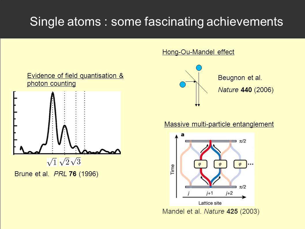 Single atoms : some fascinating achievements Beugnon et al. Nature 440 (2006) Hong-Ou-Mandel effect Evidence of field quantisation & photon counting B