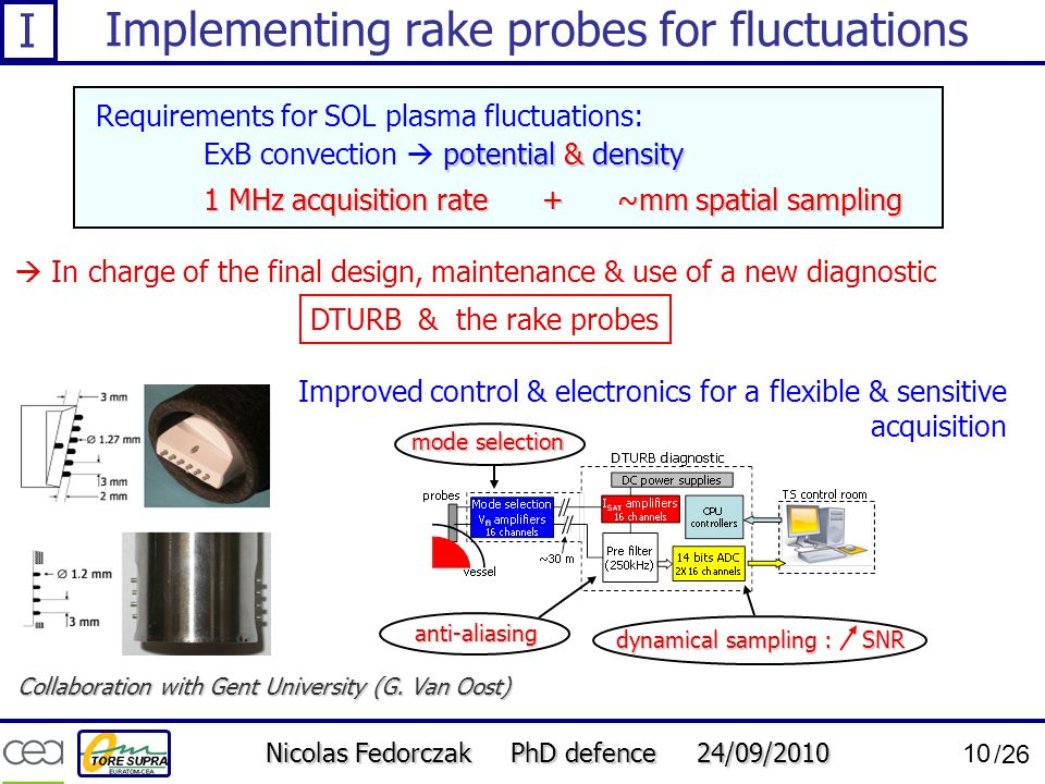 Nicolas Fedorczak PhD defence 24/09/2010 10 /26 Implementing rake probes for fluctuations 1 MHz acquisition rate + ~mm spatial sampling potential & de