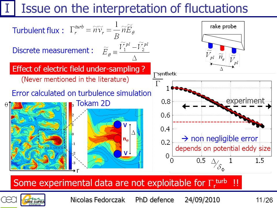 Nicolas Fedorczak PhD defence 24/09/2010 11 /26 Issue on the interpretation of fluctuations Turbulent flux : Discrete measurement : Effect of electric