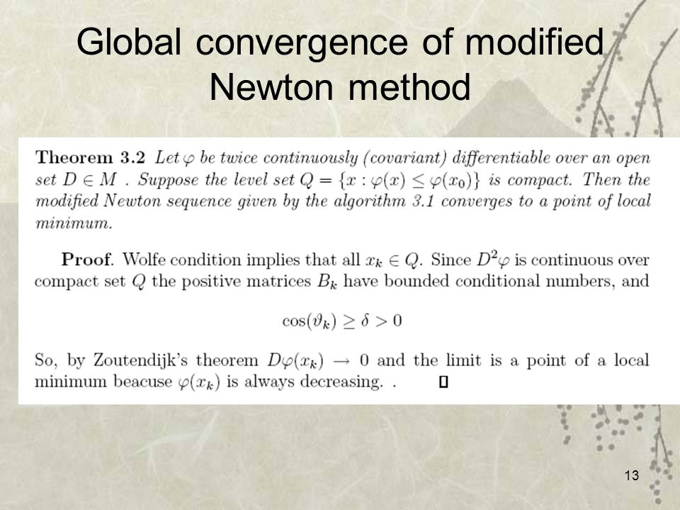 13 Global convergence of modified Newton method