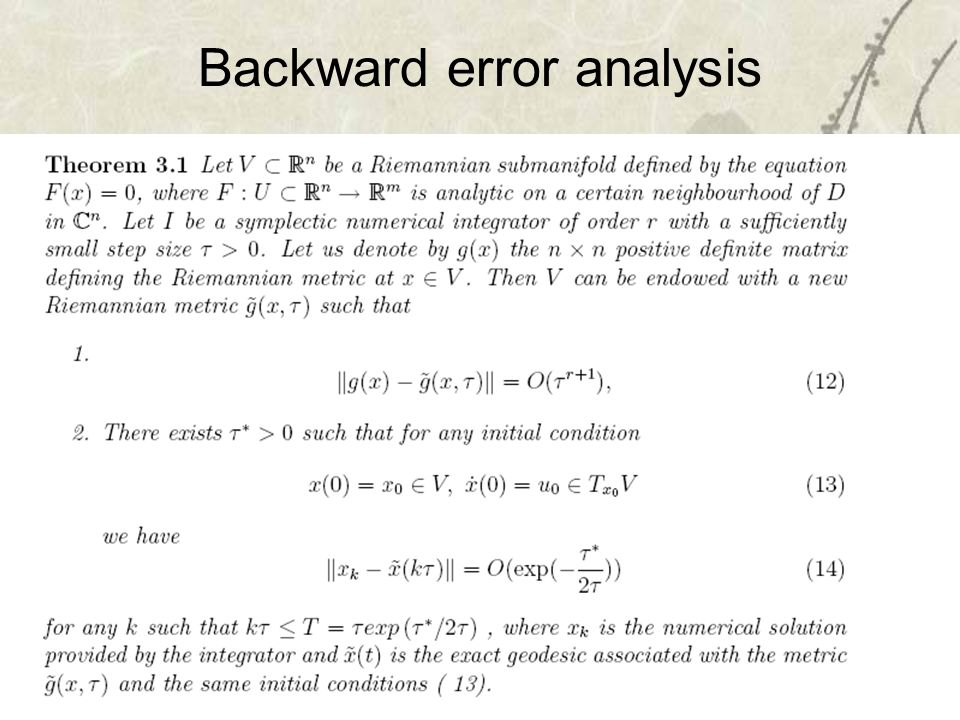 27 Backward error analysis