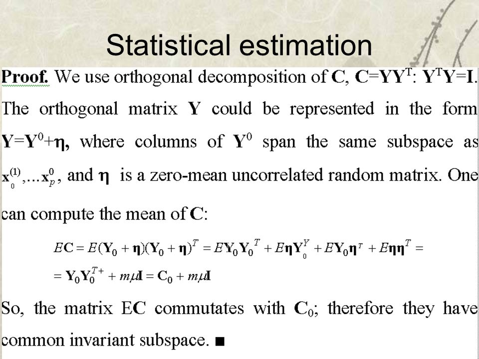 38 Statistical estimation