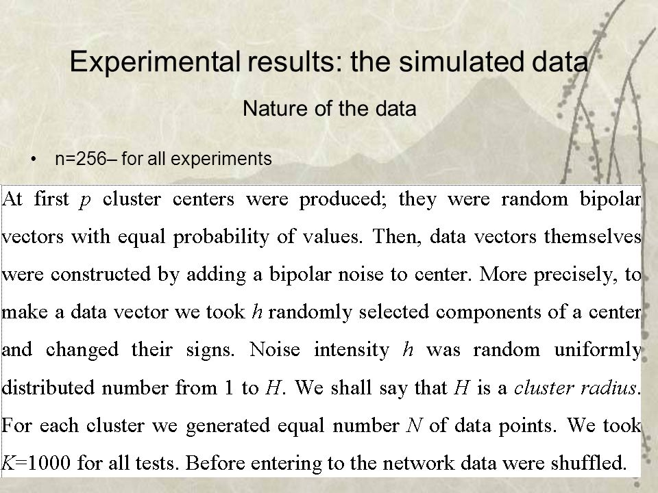 39 Experimental results: the simulated data n=256– for all experiments Nature of the data