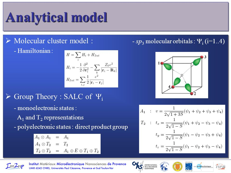 Analytical model Molecular cluster model : - sp 3 molecular orbitals : i (i=1..4) - Hamiltonian : Group Theory : SALC of i - monoelectronic states : A 1 and T 2 representations - polyelectronic states : direct product group Molecular cluster model : - sp 3 molecular orbitals : i (i=1..4) - Hamiltonian : Group Theory : SALC of i - monoelectronic states : A 1 and T 2 representations - polyelectronic states : direct product group