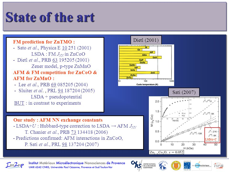 State of the art l l FM prediction for ZnTMO : - Sato et al., Physica E 10 251 (2001) LSDA : FM J NN in ZnCoO - Dietl et al., PRB 63 195205 (2001) Zener model, p-type ZnMnO AFM & FM competition for ZnCoO & AFM for ZnMnO : - Lee et al., PRB 69 085205 (2004) - Sluiter et al., PRL 94 187204 (2005) LSDA + pseudopotential BUT : in contrast to experiments Our study : AFM NN exchange constants - LSDA+U : Hubbard-type correction to LSDA AFM J NN T.