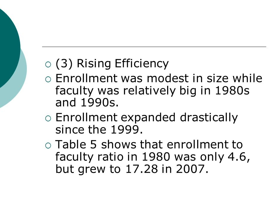 (3) Rising Efficiency Enrollment was modest in size while faculty was relatively big in 1980s and 1990s. Enrollment expanded drastically since the 199
