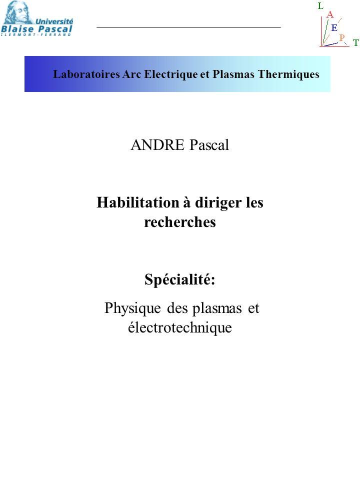 ANDRE Pascal Habilitation à diriger les recherches Spécialité: Physique des plasmas et électrotechnique Laboratoires Arc Electrique et Plasmas Thermiq