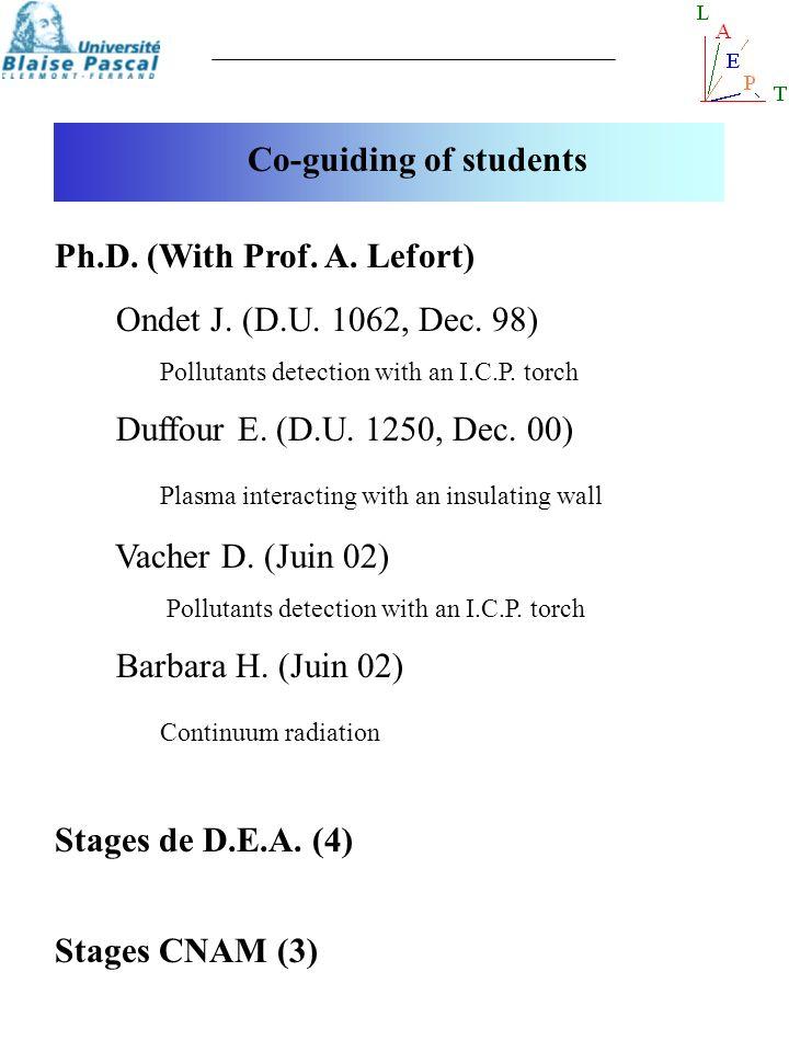 Co-guiding of students Ph.D. (With Prof. A. Lefort) Ondet J. (D.U. 1062, Dec. 98) Pollutants detection with an I.C.P. torch Duffour E. (D.U. 1250, Dec