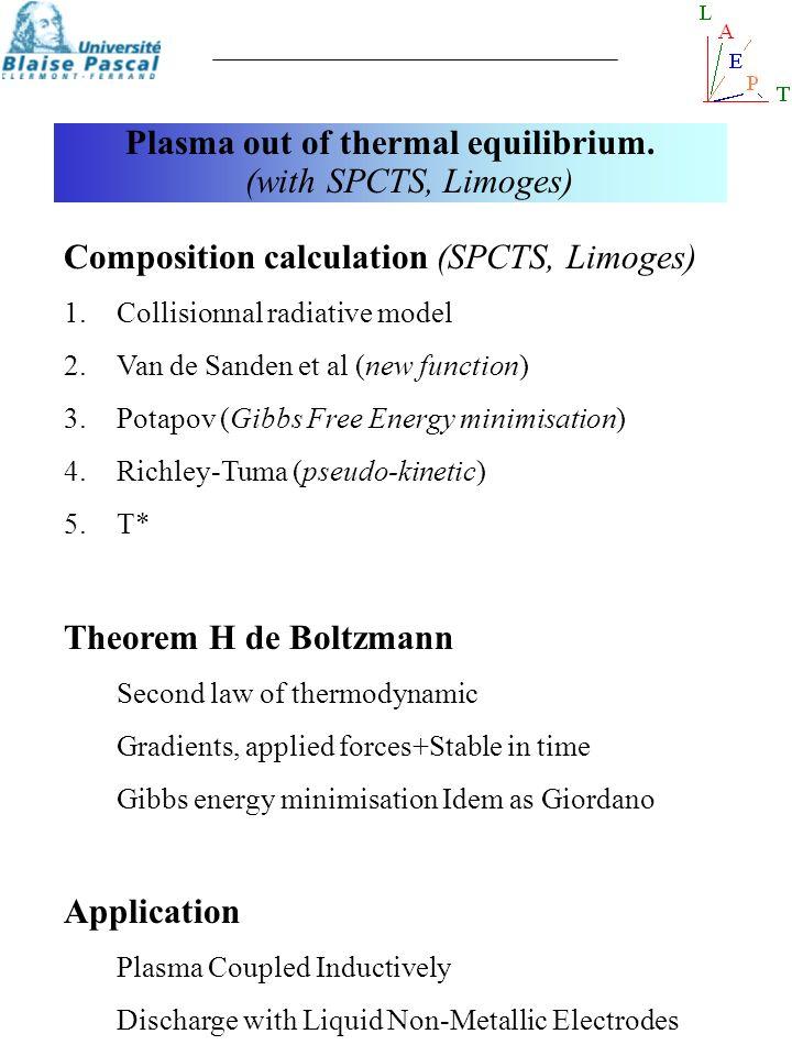 Plasma out of thermal equilibrium. (with SPCTS, Limoges) Composition calculation (SPCTS, Limoges) 1.Collisionnal radiative model 2.Van de Sanden et al