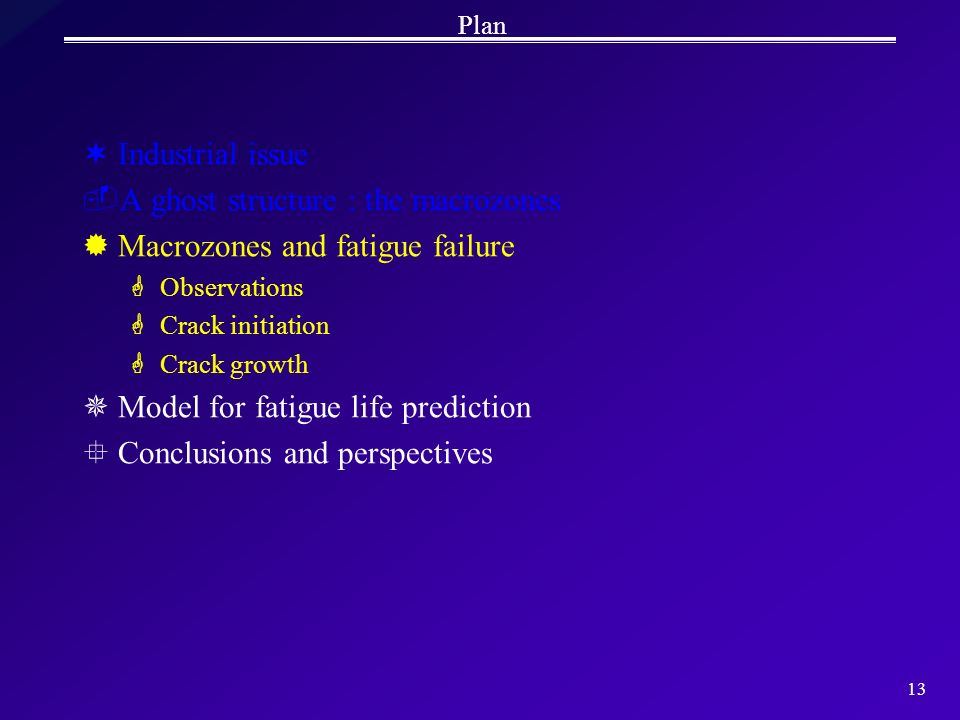 13 Plan ¬Industrial issue A ghost structure : the macrozones ®Macrozones and fatigue failure GObservations GCrack initiation GCrack growth ¯Model for