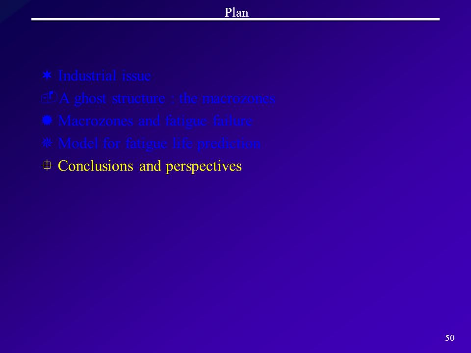 50 Plan ¬Industrial issue A ghost structure : the macrozones ®Macrozones and fatigue failure ¯Model for fatigue life prediction °Conclusions and pers