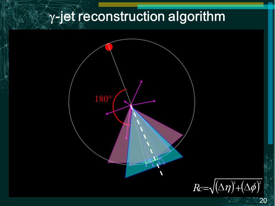 20 -jet reconstruction algorithm 180°