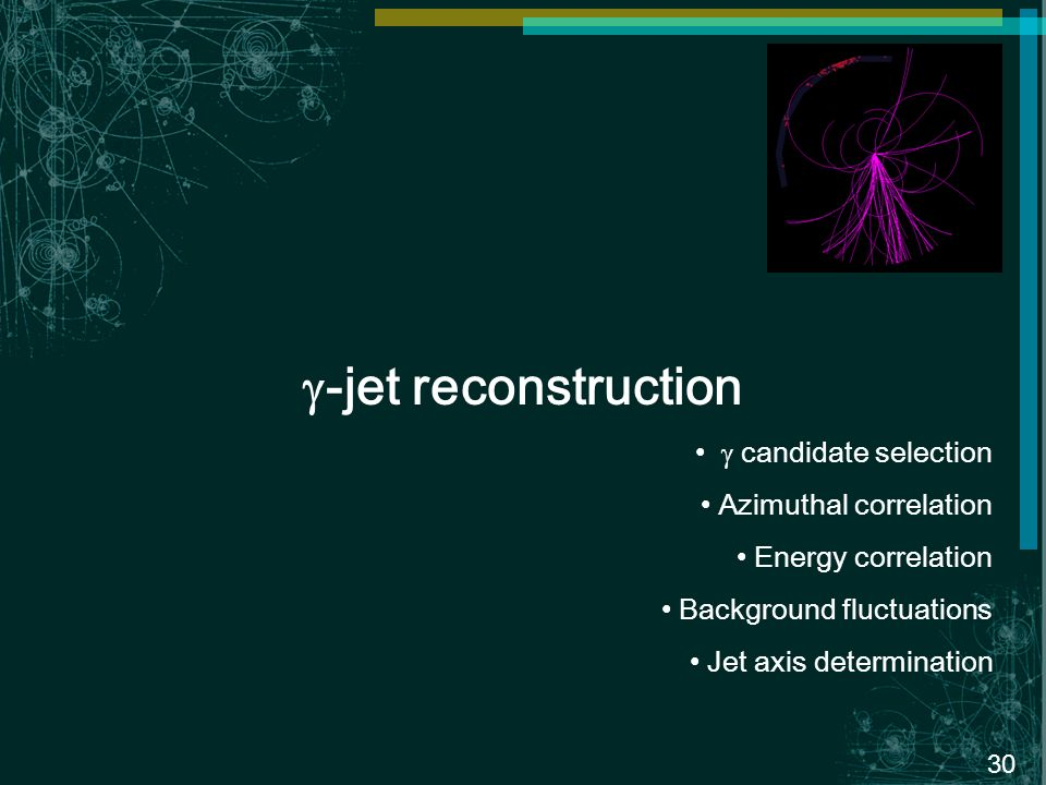 30 -jet reconstruction candidate selection Azimuthal correlation Energy correlation Background fluctuations Jet axis determination