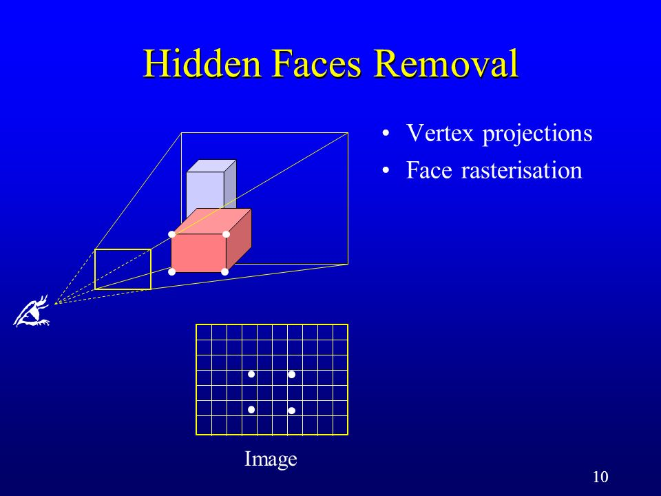 10 Image Vertex projections Face rasterisation Hidden Faces Removal