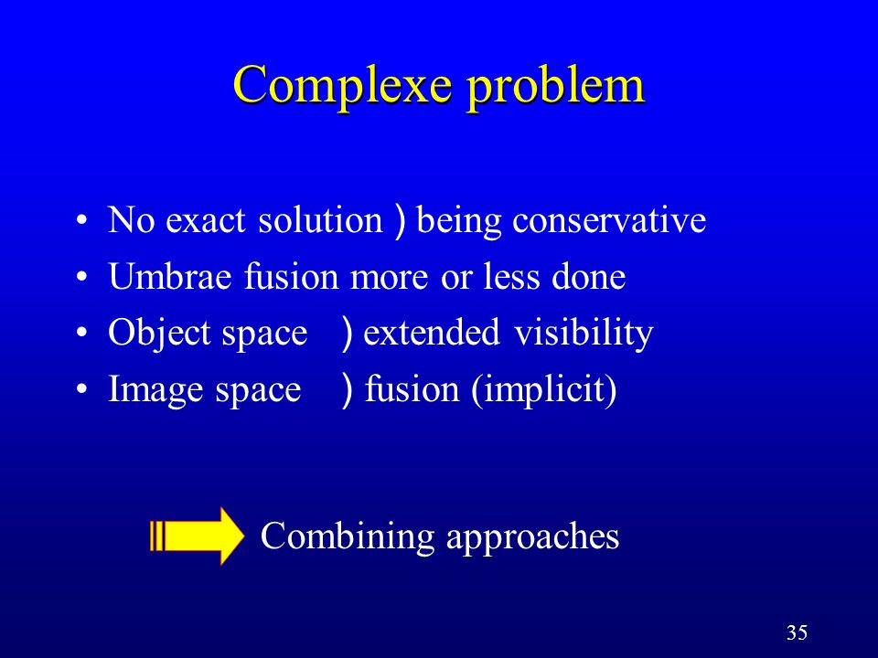 35 Complexe problem No exact solution ) being conservative Umbrae fusion more or less done Object space ) extended visibility Image space ) fusion (im