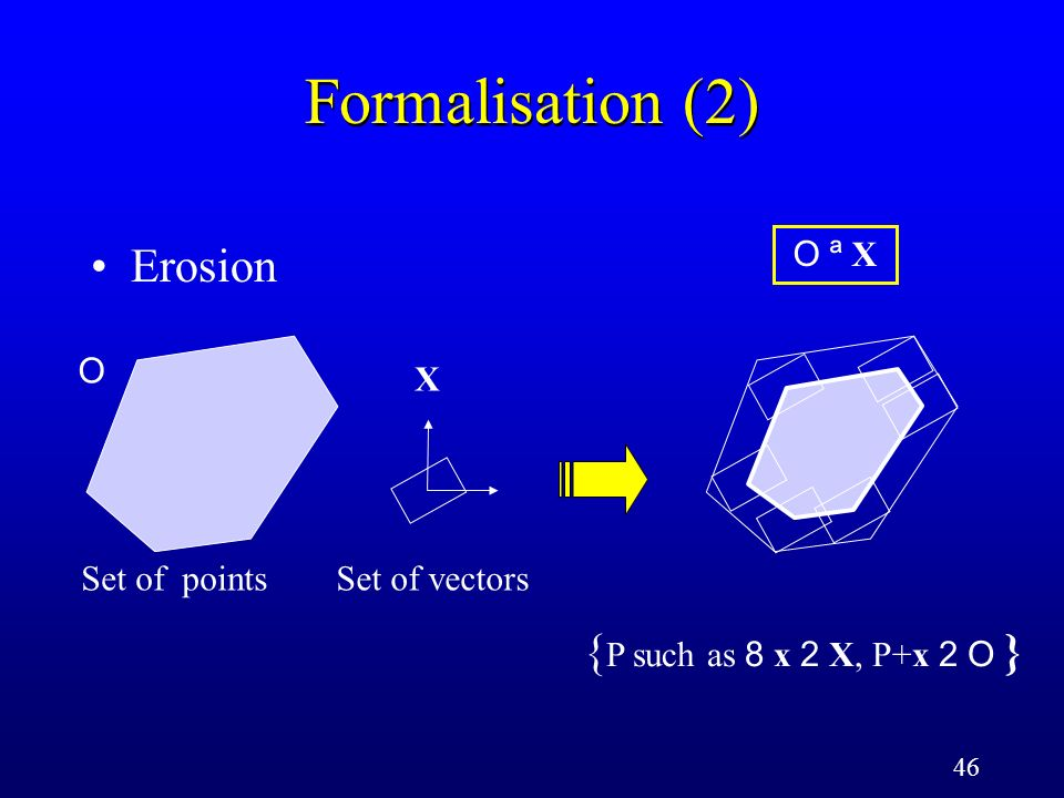 46 Formalisation (2) Erosion Set of points O Set of vectors X O ª XO ª X { P such as 8 x 2 X, P+x 2 O }