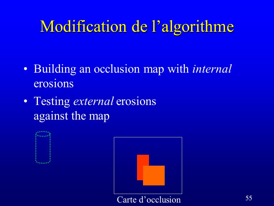 55 Modification de lalgorithme Carte docclusion Building an occlusion map with internal erosions Testing external erosions against the map