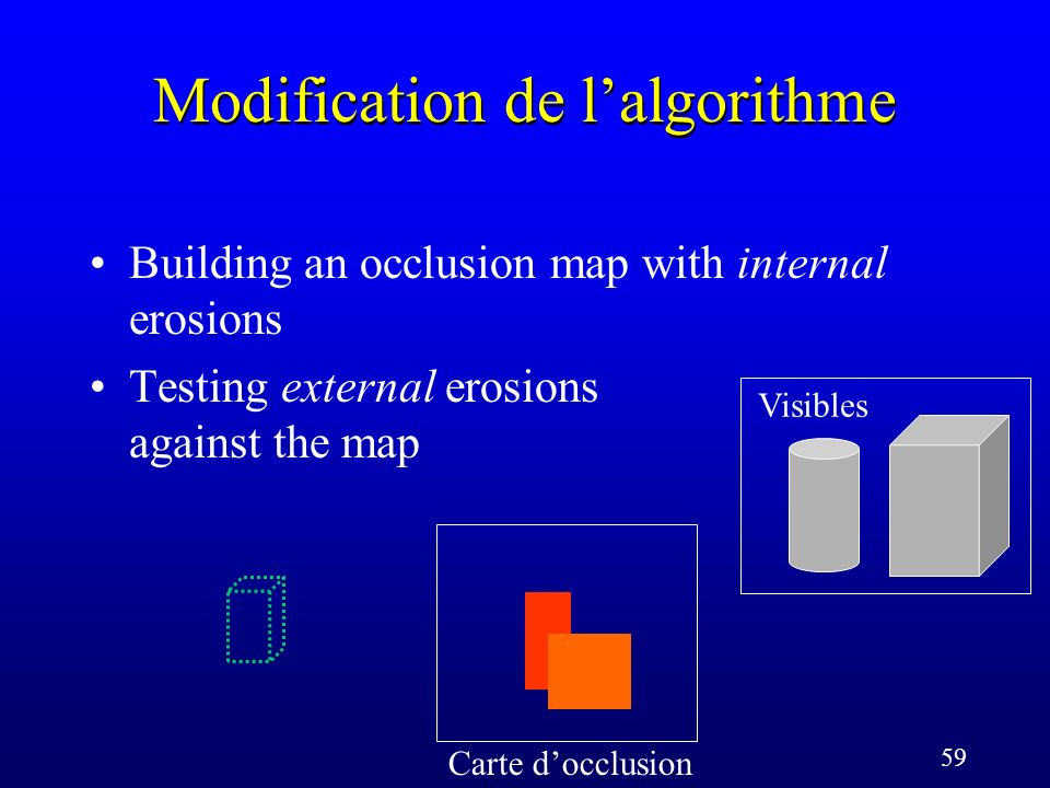 59 Modification de lalgorithme Carte docclusion Visibles Building an occlusion map with internal erosions Testing external erosions against the map