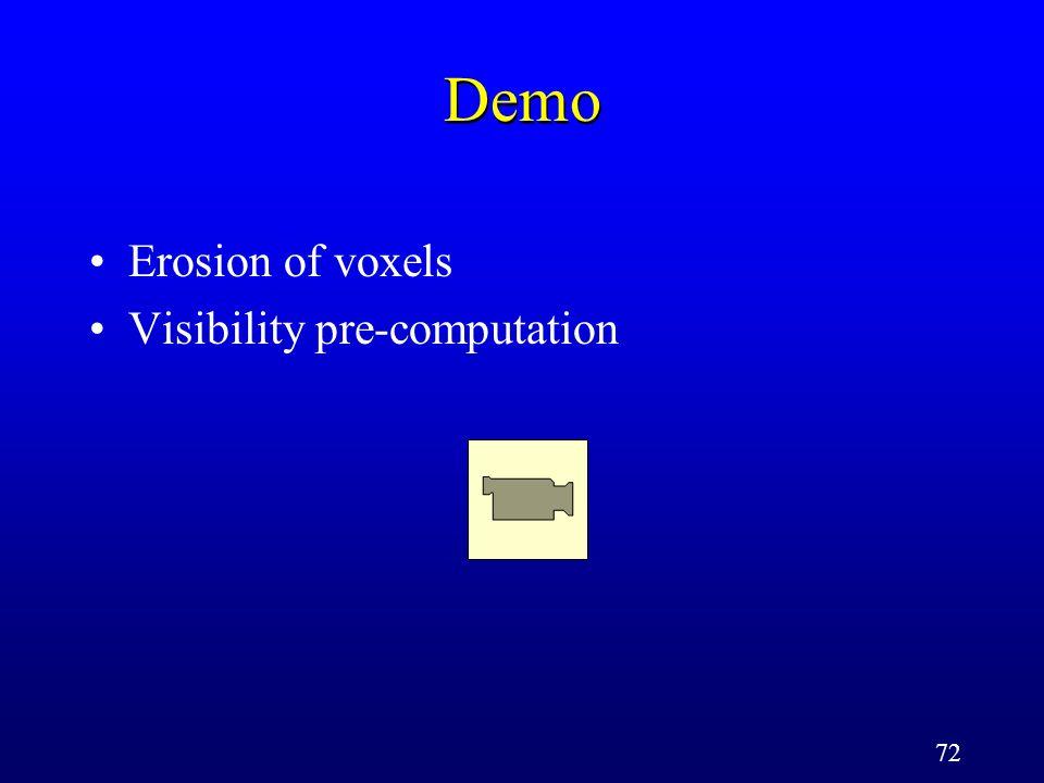 72 Demo Erosion of voxels Visibility pre-computation