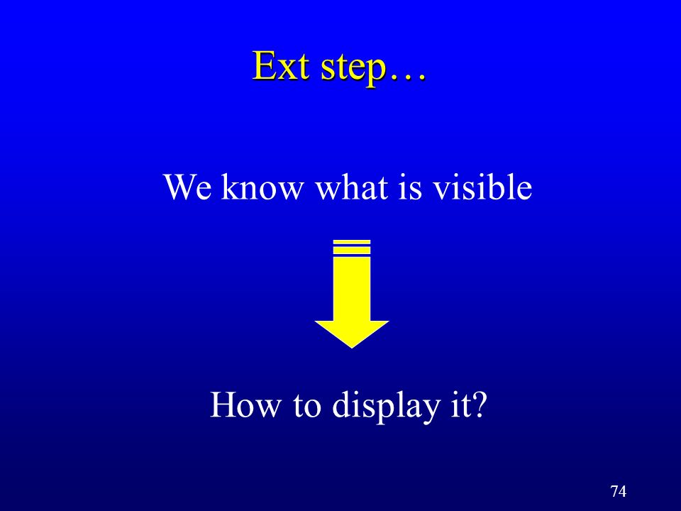 74 Ext step… We know what is visible How to display it