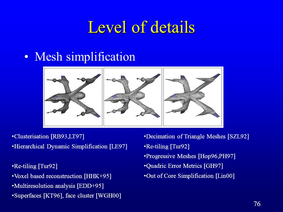 76 Level of details Mesh simplification Clusterisation [RB93,LT97] Hierarchical Dynamic Simplification [LE97] Decimation of Triangle Meshes [SZL92] Re-tiling [Tur92] Progressive Meshes [Hop96,PH97] Quadric Error Metrics [GH97] Out of Core Simplification [Lin00] Re-tiling [Tur92] Voxel based reconstruction [HHK+95] Multiresolution analysis [EDD+95] Superfaces [KT96], face cluster [WGH00]