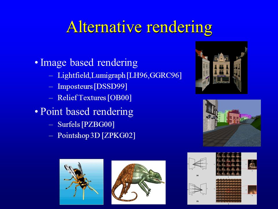78 Alternative rendering Image based rendering –Lightfield,Lumigraph [LH96,GGRC96] –Imposteurs [DSSD99] –Relief Textures [OB00] Point based rendering